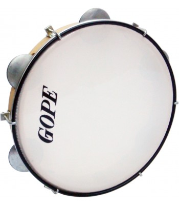 Gope Wood Pandeiro Hand Drum with Jingles 10 1/2""